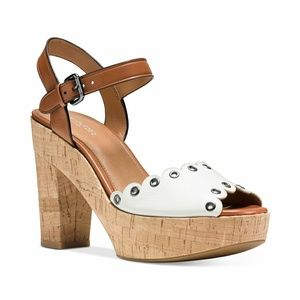 New! COACH Platform Leather Sandals Chunky Opentoe